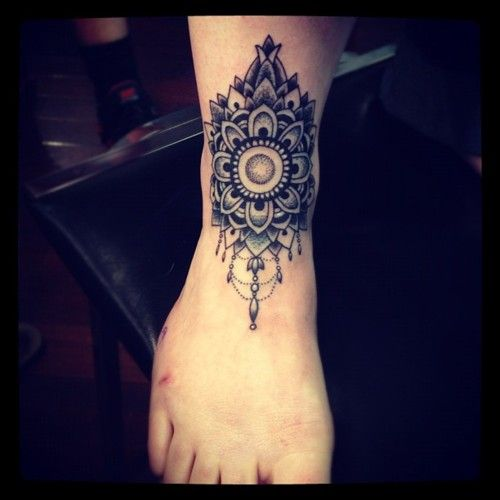 Perfect henna inspired ankle tattoo