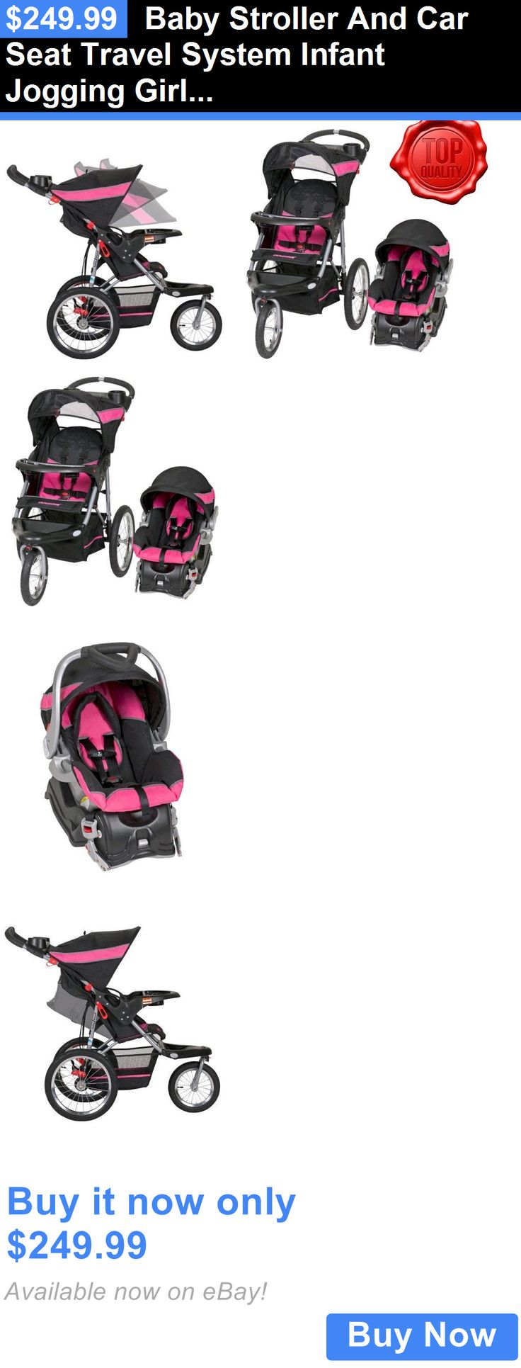 baby and kid stuff: Baby Stroller And Car Seat Travel System Infant Jogging Girls Pink Pram Child BUY IT NOW ONLY: $249.99