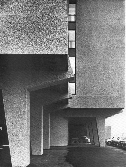 Close view of the Standard Telephones Building, Oslo, Norway (circa 1967) Erling Viksjo, 1966.