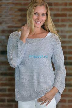 Пуловер спицами женский серого цвета