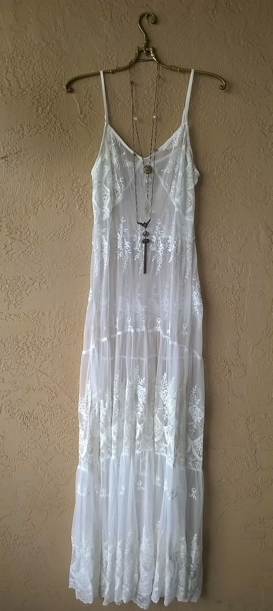 Image of Anthropologie sheer embroidery lace maxi dress