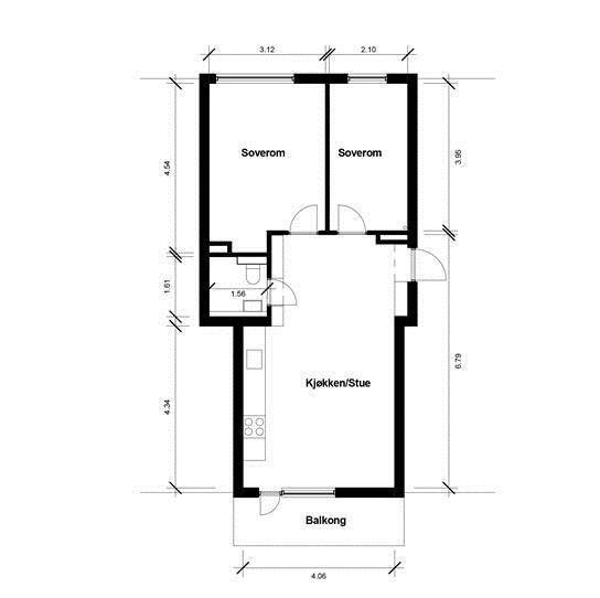 Leiligheten er gjennomgående, ligger i 5. etg (topp) og inneholder: Entré, kjøkken, soverom, bad/WC og stue med utgang til balkong. Leiligheten disponerer bod på loft. Svært lys og luftig 2-roms selveiet toppleilighet med arkitekttegnede løsninger, god takhøyde, gjennomgående planløsning og store vindusflater som gir gode lysforhold og en åpen, luftig atmosfære. Det er stor, solrik balkong mot ...