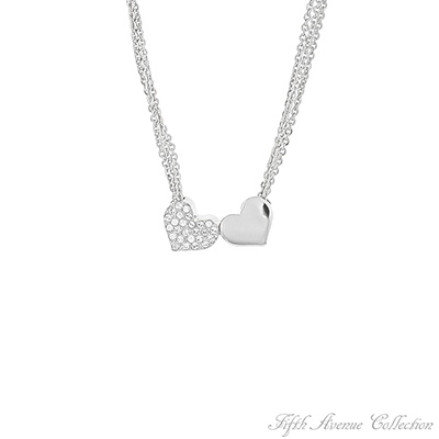 "You Were Meant For Me! Description  Twin hearts and Swarovski's clear crystal accompanied by three strands of silvery chain… what a beautiful way to send the romantic message, ""You Were Meant for Me.""  18"" Neckpiece with 2"" extension Nickel, lead and cadmium free"