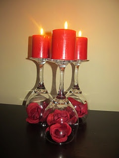 3 glasses, 3 candles, 1 bunch of roses from Dollar Tree=simple V-Day display