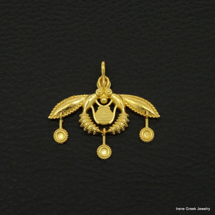 MINOAN MALIA BEES PENDANT 925 STERLING SILVER 22K GOLD PLATED GREEK ART LUXURY #IreneGreekJewelry #Pendant