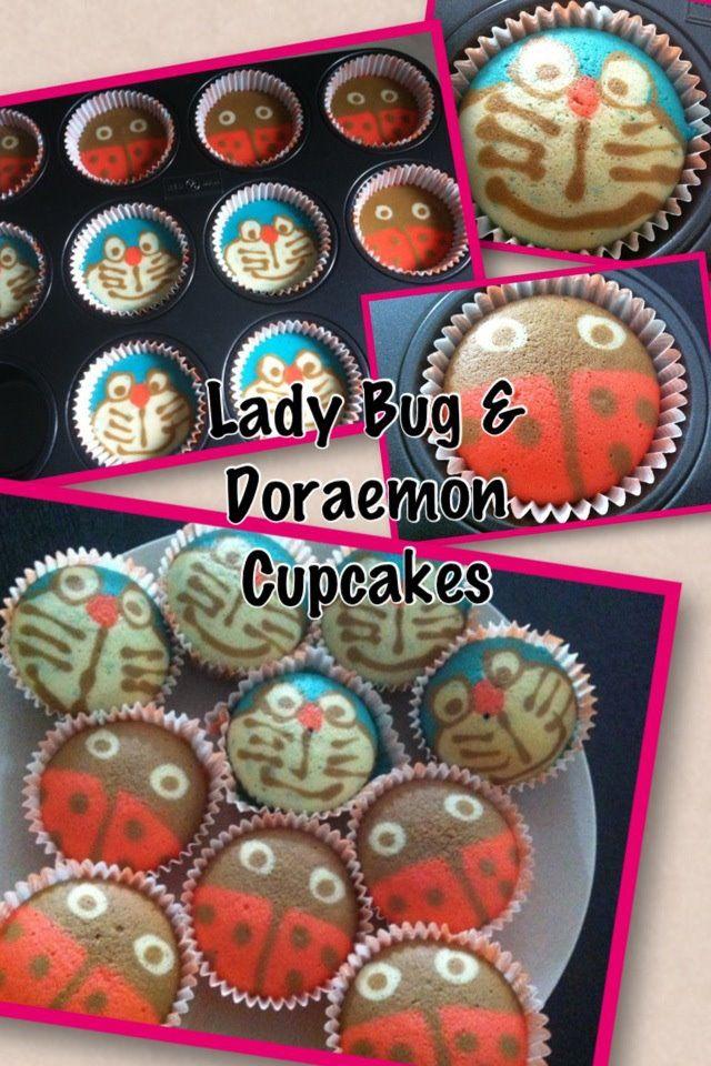 Lady Bug & Doraemon Cupcakes