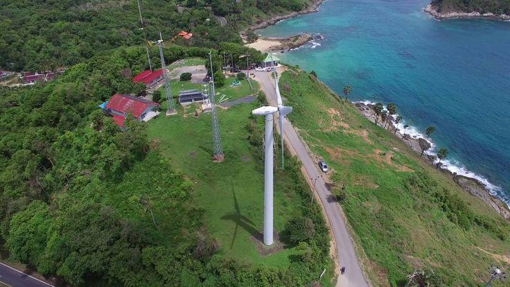 Thailand. Phuket. NaiHarn. Wind turbine. July 2016. 4k video.