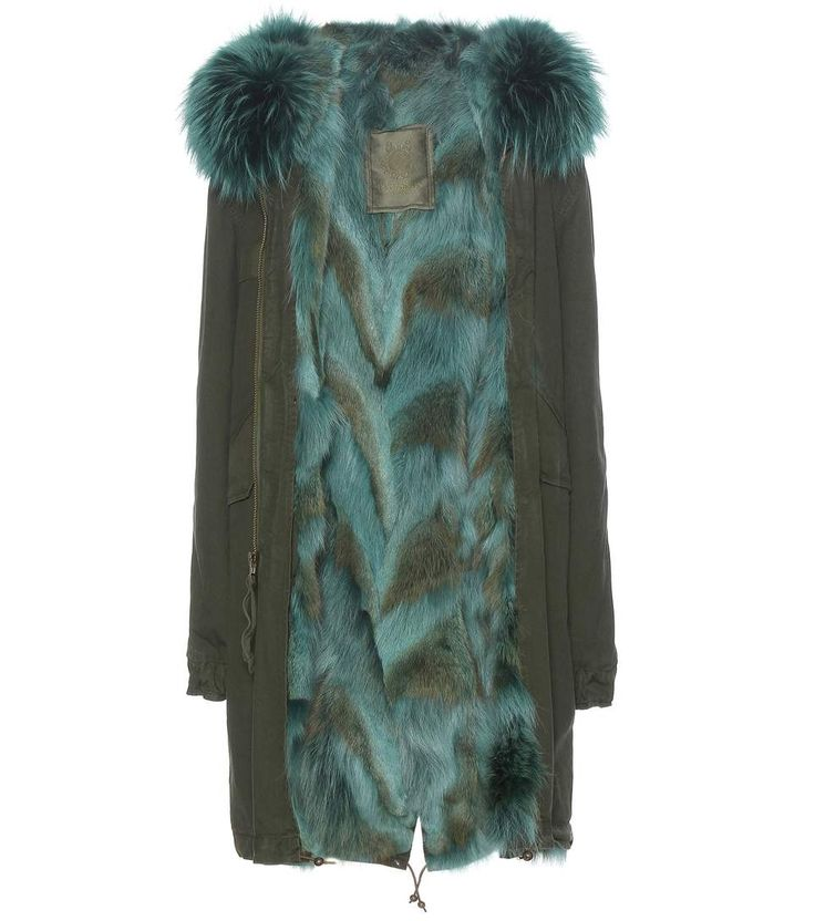 MR & MRS ITALY Fur-lined cotton parka with fur-trimmed hood. #mrmrsitaly #cloth #coats