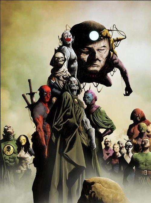 Marvel Universe villains featuring Baron von Strucker, Madame Masque, Deadpool, Taskmaster, Ultron, Dr. Doom, M.O.D.O.K., Kang the Conqueror, Bastion, ?, ?, Lady Bullseye, Juggernaut, the Leader and Sandman (cover to ?)