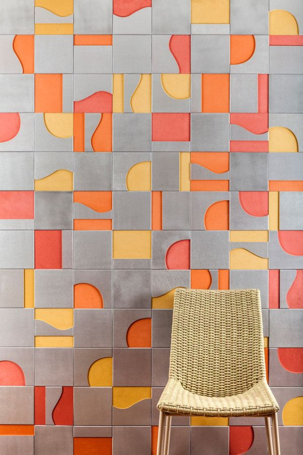 MODERNIST from the Brasiliana collection designed by Renata Rubim with Oca Brasil.  A series of wooden tiles made of eucalipt or Valchromat in various color ways, each with their own personality.