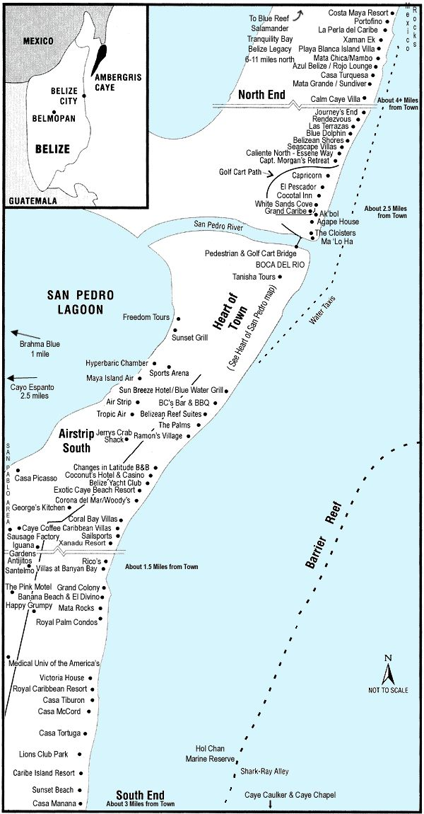 San Pedro Town, Belize Maps, Ambergris Caye - tranquility bay alll the way at the top... Access via boat only!