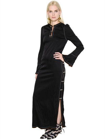 LOEWE - MATTE SATIN DRESS W/ CONTRAST STITCHING - DRESSES - BLACK - LUISAVIAROMA