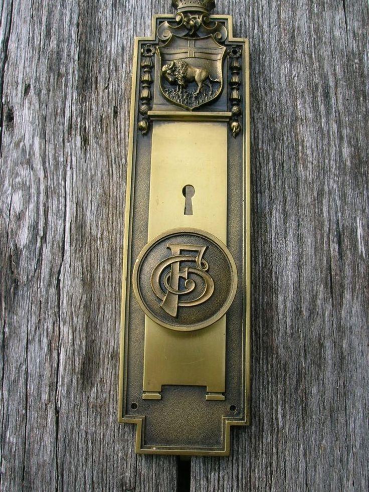 vintage antique bronze russwin monogram emblematic door knob set bison design russwin - Antique Door Hardware