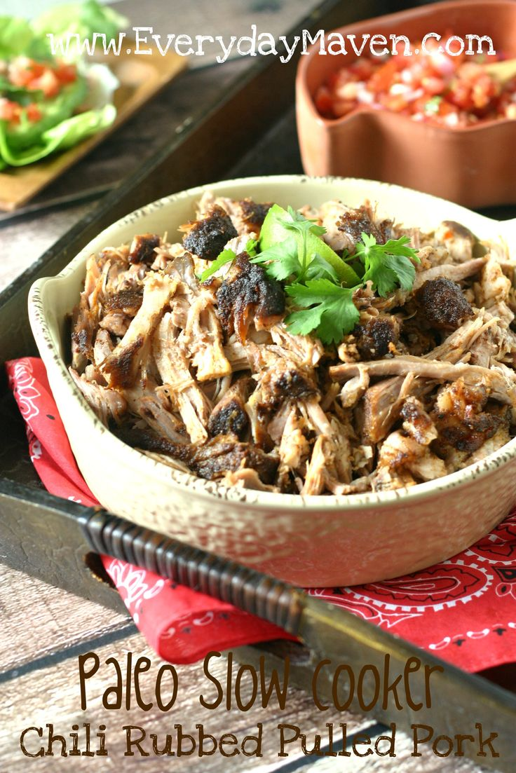 Slow Cooker Pork Tacos Recipe. Protein: pork, Fat: top with guacamole, Carbs: enjoy with steamed veggies.