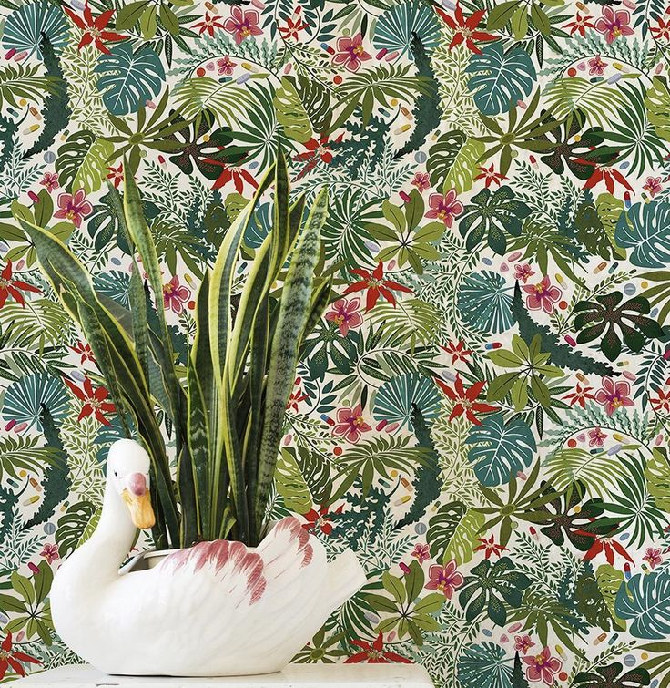 This tropical floral wallpaper is super cute in a graphic cartoon style with little fern leaves and flowers. I just don't understand why there are pills or drugs scattered through out it. Edgy I guess.