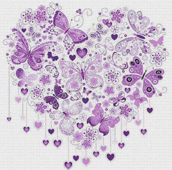 Butterfly Heart counted cross stitch pattern PDF - instant download! Finished size on 14 count aida fabric is 55cm x 55cm (custom sizes