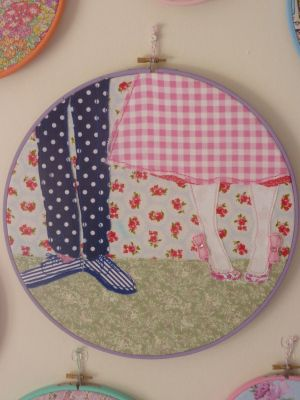 Wedding shoes embroidery hoop with appliquéd fabric - based on a favourite photo from our wedding