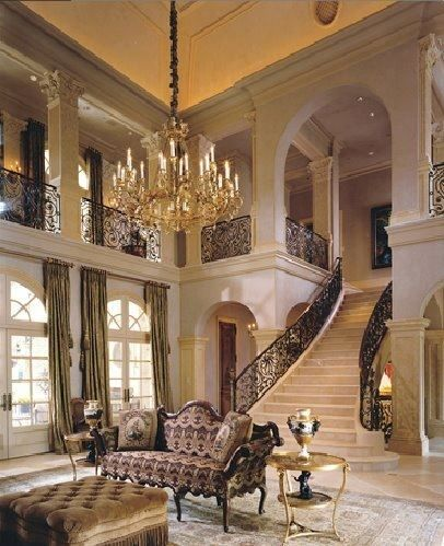 Luxury Mansion Living Room Design With Grand Staircase
