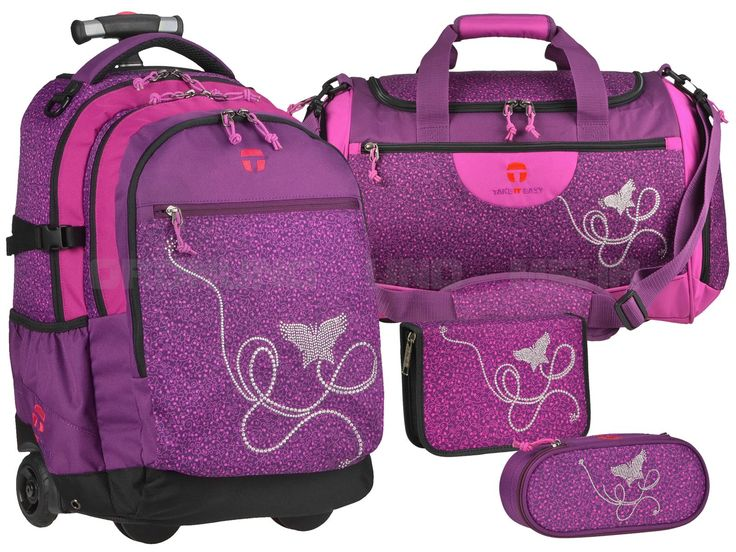 Take it Easy MARLENE - 4teiliges SET Trolley Rucksack Sporttasche Stiftetui Schlamper - violet lila  28045-364-059-S