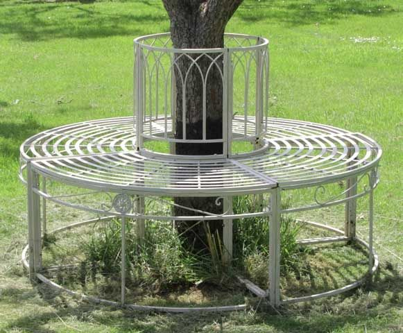 steel tree seat in cream full circle ischia by alium