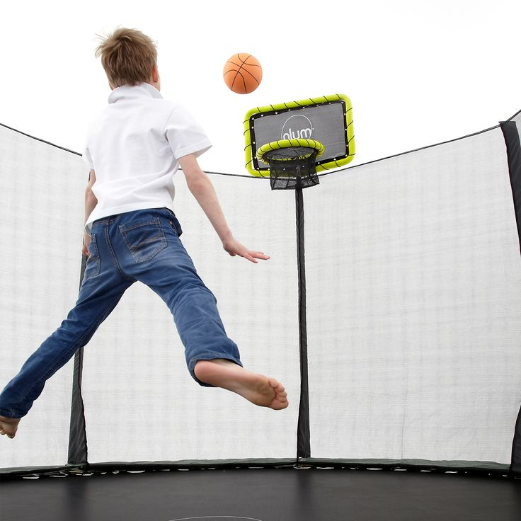 PLUM TRAMPOLINE BASKETBALL KIT  Our brand new Plum Basketball Set is the perfect trampoline accessory and will decide once and for all who has house bragging rights as the sharpest shooter in the family!!