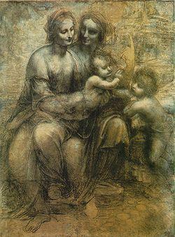 Leonardo da Vinci | Cartone di sant'Anna (Sant'Anna, la Madonna, il Bambino e san Giovannino) è un disegno a gessetto nero, biacca e sfumino su carta (141,5×104,6cm), databile al 1501-1505 circa e conservato nella National Gallery di Londra.