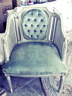 Reminds me of my grandma greats chair that I will get refinished one day ~ chair velvet, button tufted, wicker