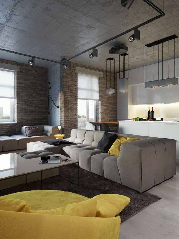 Wohnzimmerlampe Moderner Wohnbereich Mit Industrieller Beleuchtung
