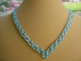 """""""V""""necklace in blue - 90.00"""