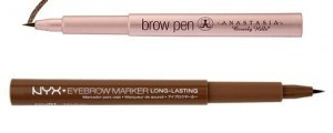 NYX Eyebrow Marker ($9.75 at NYXcosmetics.com). This brow marker   comes in two shades and gives the   Anastasia Brow Pen a serious run for   its money. The tip is equally as fine and   the formula last just as long.