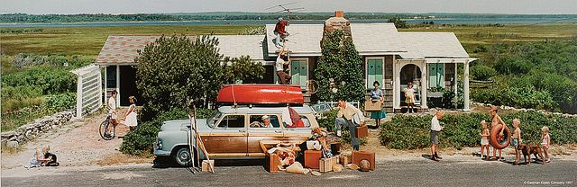 Closing a Summer Cottage, Quogue, New York, a 1957 Norman Rockwell art-directed Colorama by Ralph Amdursky and Charles Baker.