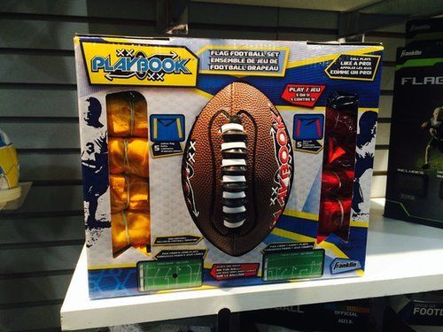 This new flag football set includes a football with plays printed on it so kids can point to the play they want to call.                   Source: POPSUGAR Photography