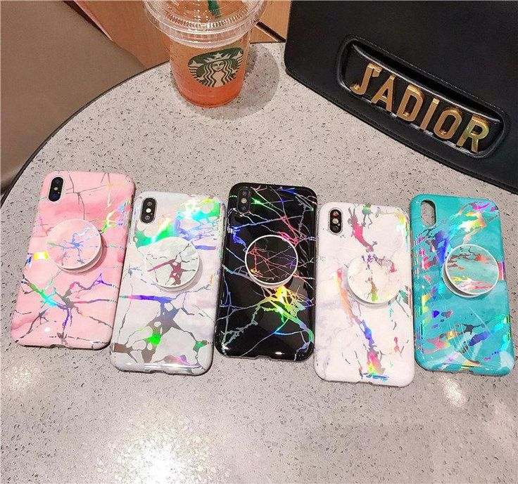 Laser Marble + PopSocket Holder iPhone Case Mermaid Case