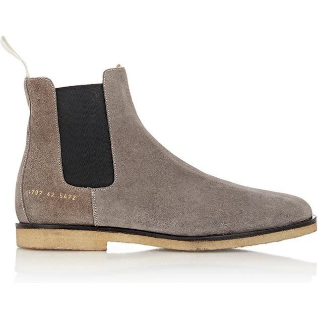 Scott+Disick+wearing+Common+Projects+Suede+Chelsea+Boots+in+Grey