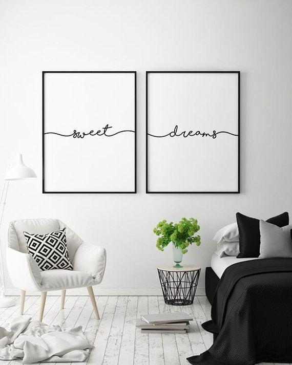 Dolci Sogni Wall Art Set Di 2 Stampe Sopra L Arredamento Etsy Decoracion Paredes Cuadros Cuadros Modernos Para Dormitorio Decoracion Con Cuadros