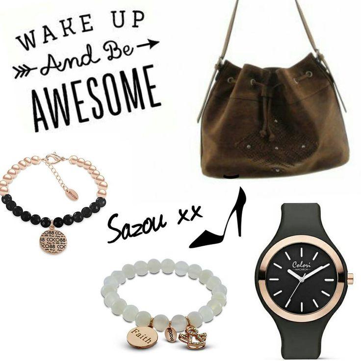 Colori Macaron Watch, A-Zone handbag, COCO88 Bracelets www.sazou.nl  #Sazou #sieraden #tassen #horloges #Armbanden #trendy #COCO88 #colorijewels #Azone