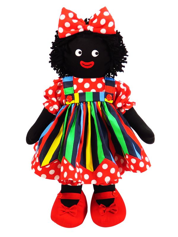 Piper is just fabulous in primary stripes with red polka dot zig zag hem & bloomers! Clothing is removable.