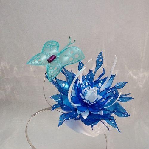 Fascinátor -  PET art  Modro-bílý