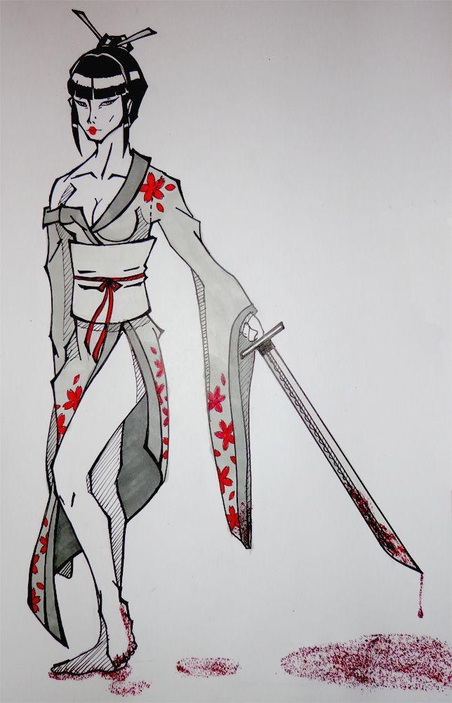 Killer geisha illustration draw.  Geisha asesina dibujo ilustración.