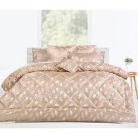 6 Pc Willoughby Gold Jacquard Comforter Set- Queen Bed