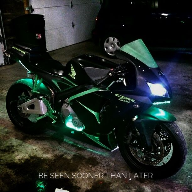 Whether or not it's for decoration, you definitely want to install brighter lights on your bike to be seen on the road sooner than later. Check with your state's laws about do's and don'ts. IG: @meh_ster #sportbike #bikelife #honda #cbr600rr #halos #leds