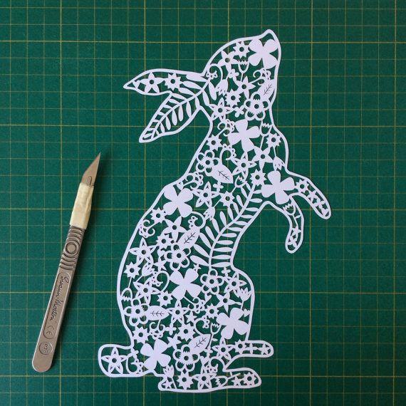 Etsy の Bunny Rabbit Papercut Card by OhCutItOut