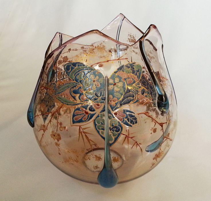 Allantiqueglass Auguste Jean French Amber GlassFrench ArtGlass ShadesGlass ArtArt NouveauAugusteEnamelJapanese StyleIridescent