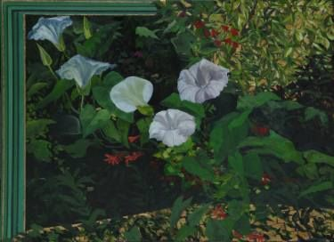 Buy Weeds of Wellington, a Oil on Canvas by Alii Scott from New Zealand. It portrays: Nature, relevant to: plants, weeds,  gold, gold leaf, flowers, green, Japanese Style, whiite flowers, detailed plant painting I love flowers, plants, trees. Their design is so perfect. The leaves are translucent so when the light shines on them they become more colourful, like coloured glass. In a place that is left to grow wild, instead of  unchecked growth becoming wrecked,instead, the plants find their…