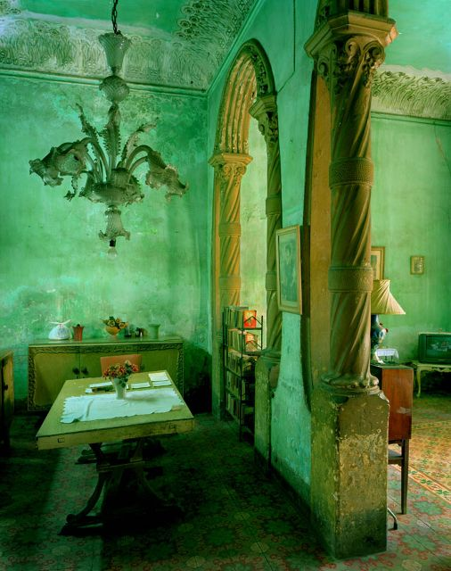 Cuba. Green Dining Room, Michael Eastman. | More colourful lusciousness here: http://mylusciouslife.com/photo-galleries/a-colourful-life-colours-patterns-and-textiles/