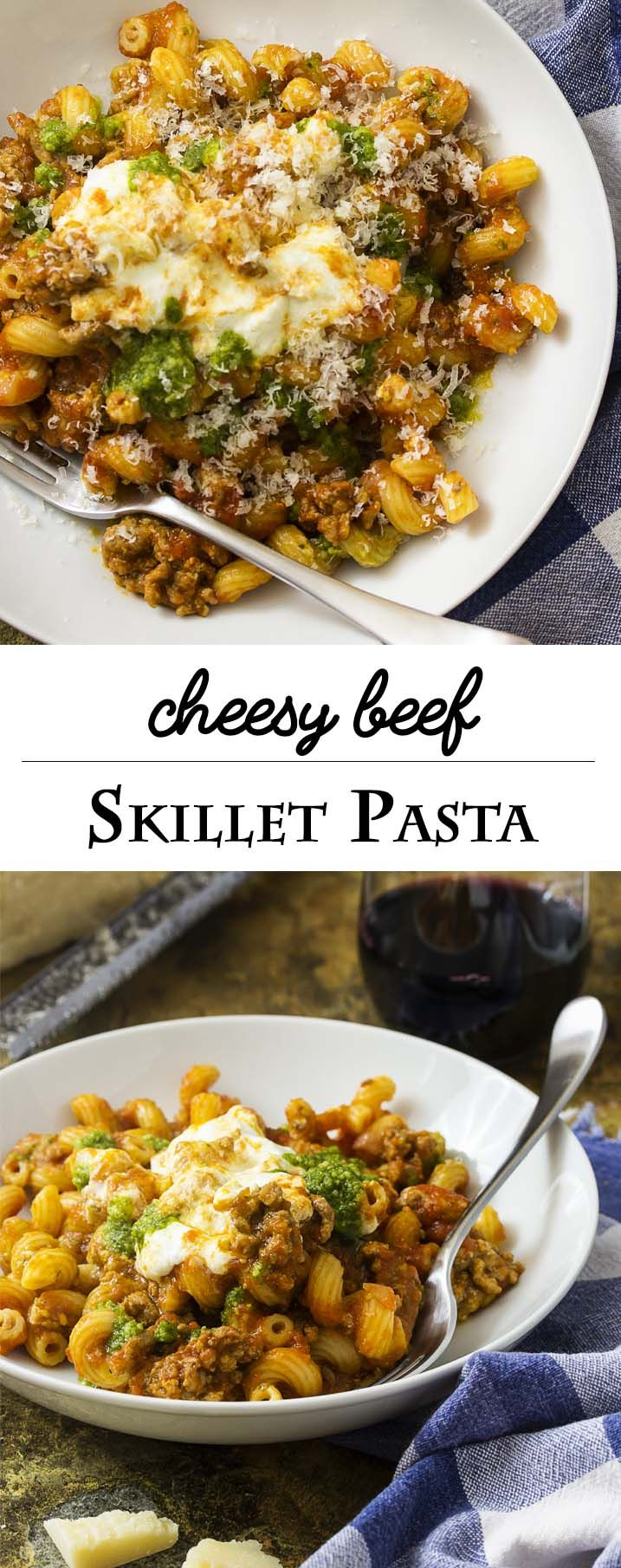 Dinner comes together in a flash with this recipe for kid-pleasing, one-pot ground beef pasta skillet topped with pesto and ricotta. | justalittlebitofbacon.com