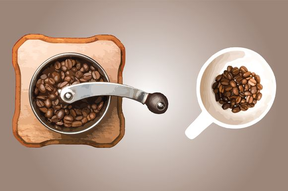 Coffee - white cup with hand mill by Knofe on @creativemarket