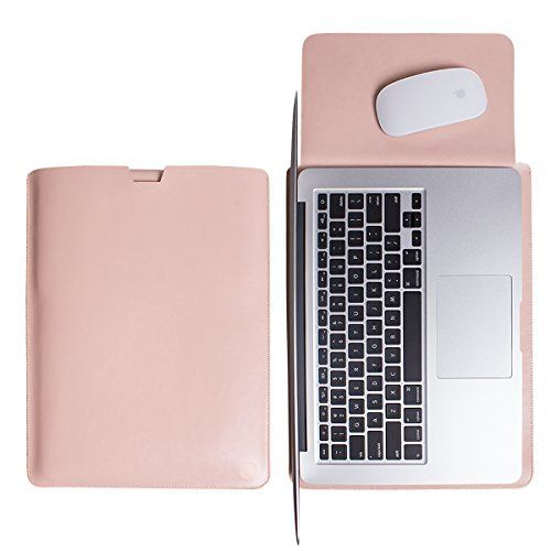 WALNEW Sleek Leather MacBook Air 13 Inch Protective Soft Sleeve Case Cover Macbook Pro retina 13 inch Carry Bag holder with safe interior and exterior mouse pad Pink