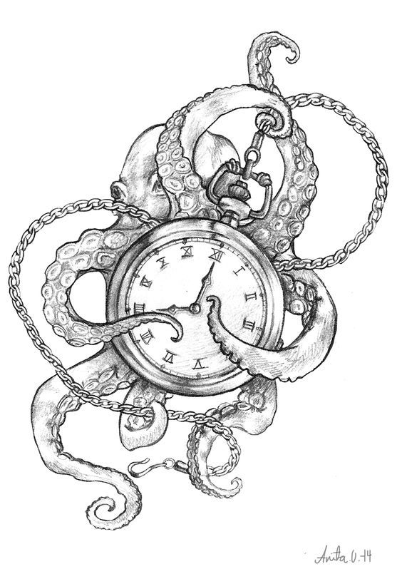 Images For > Octopus Drawing Tattoo: