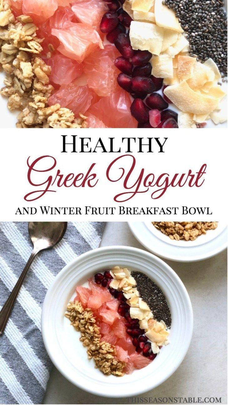 healthy greek yogurt and winter fruit breakfast bowl | recipe